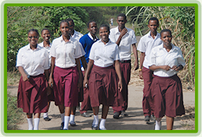 Nianjema students in front of school.